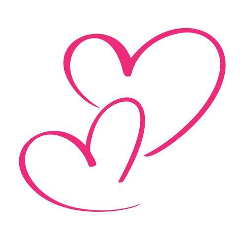 Coração de dois amantes. Caligrafia artesanal vector. Decoração para cartão, sobreposições de foto, impressão de t-shirt, panfleto, design de cartaz