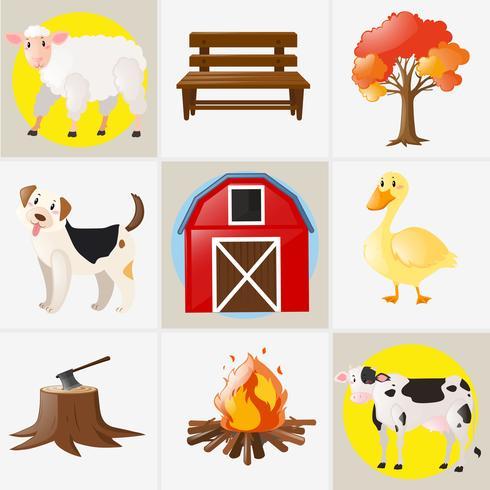 Diferentes tipos de animales de granja y elementos.