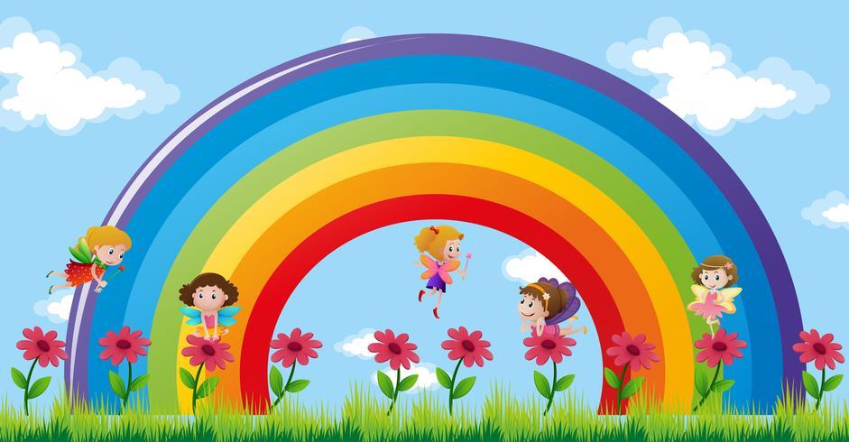 Hadas volando sobre el arcoiris