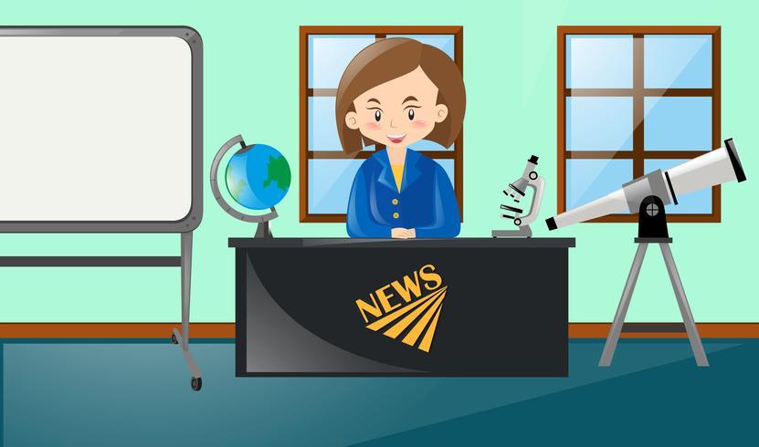 Newsreporter rapporterar nyheter i studio