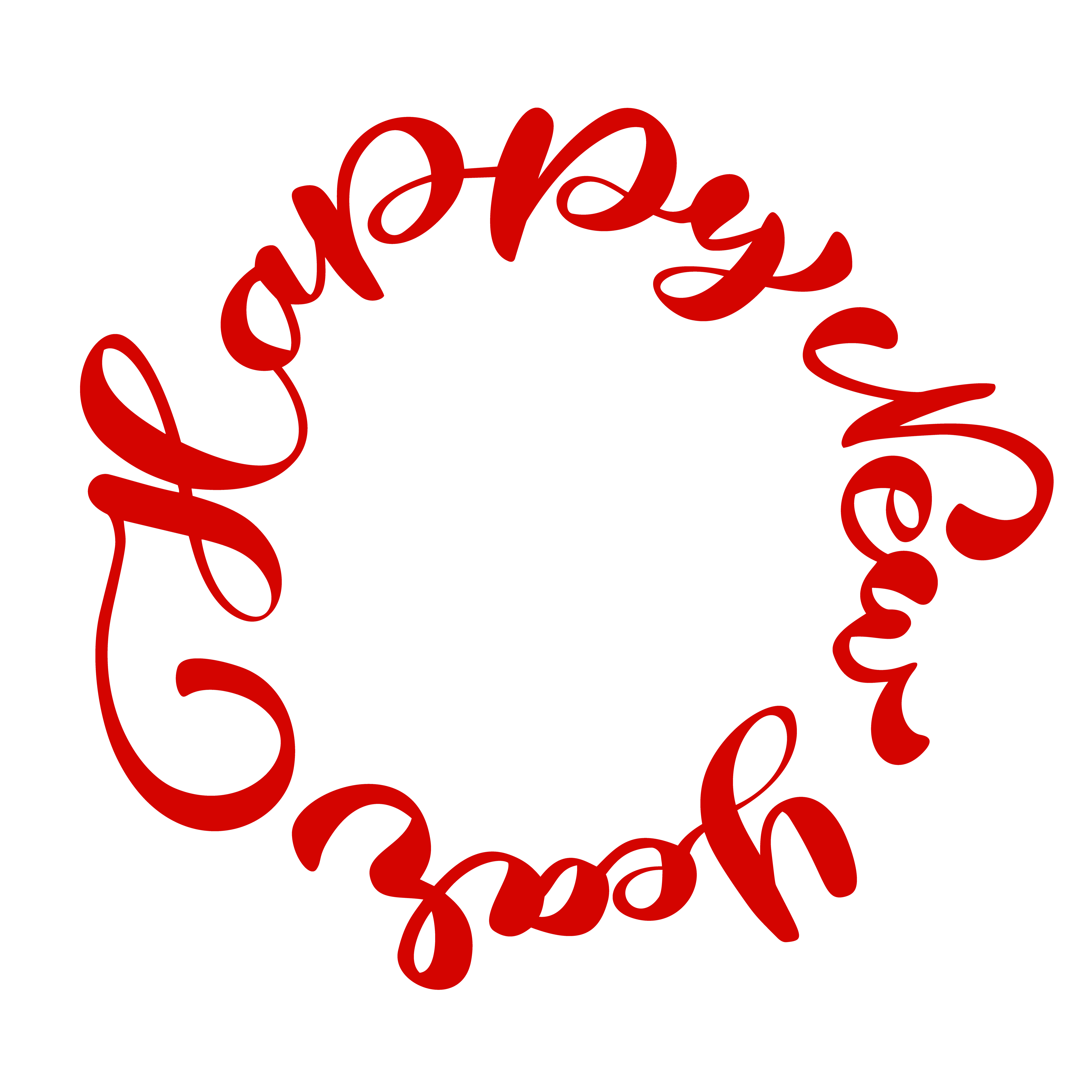 happy new year handlettering text written in a circle