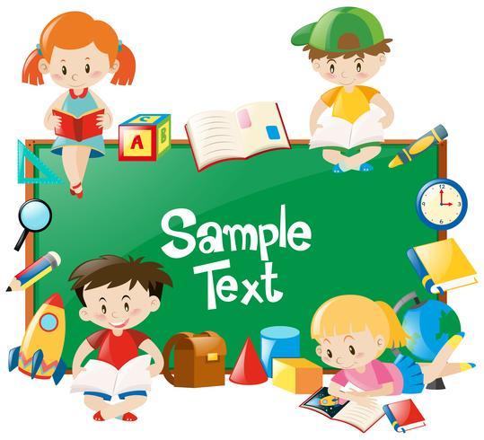 Frame design with children reading books