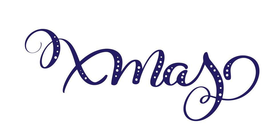 Natale blu vettoriale Testo calligrafico lettering per design Auguri di Natale. Poster di regalo di auguri di vacanza. Calligrafia moderna Font