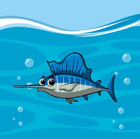 Pez espada nada en el océano vector