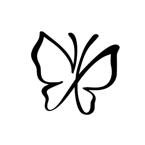 Hand drawn calligraphy logo of butterfly. Beauty cosmetic concept. Ecology vector element. Illustration eco icon design for wedding and Holiday, greeting card