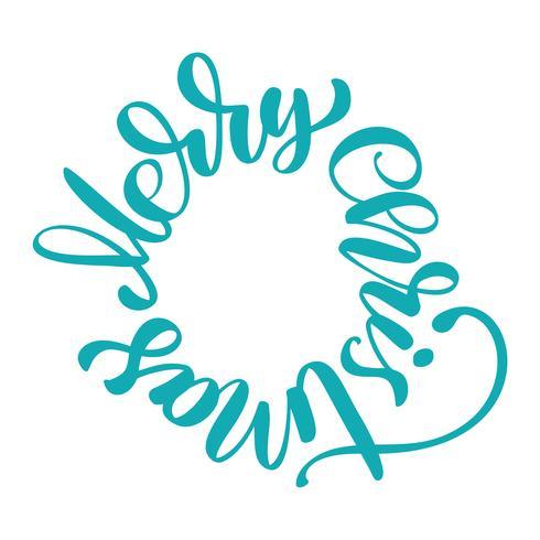textos de feliz navidad escritos a mano en una caligrafía de círculo. ilustración vectorial hecha a mano. Divertida tipografía con tinta de pincel para superposiciones de fotos, estampado de camisetas, diseño de póster