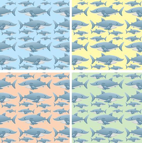 Disegno di sfondo senza soluzione di continuità con gli squali selvatici