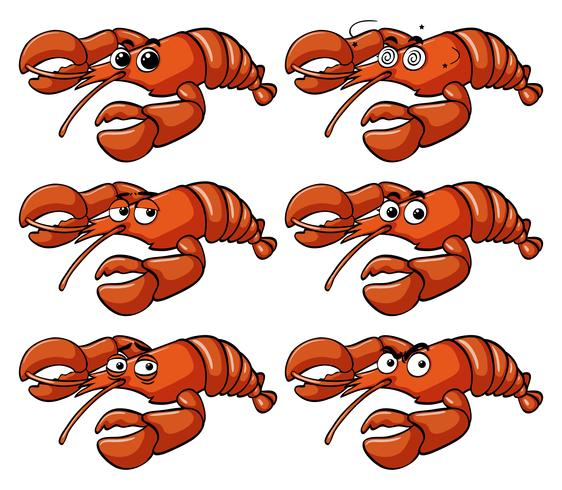 Lobster with facial expressions vector