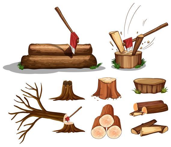 En uppsättning av träd och trä