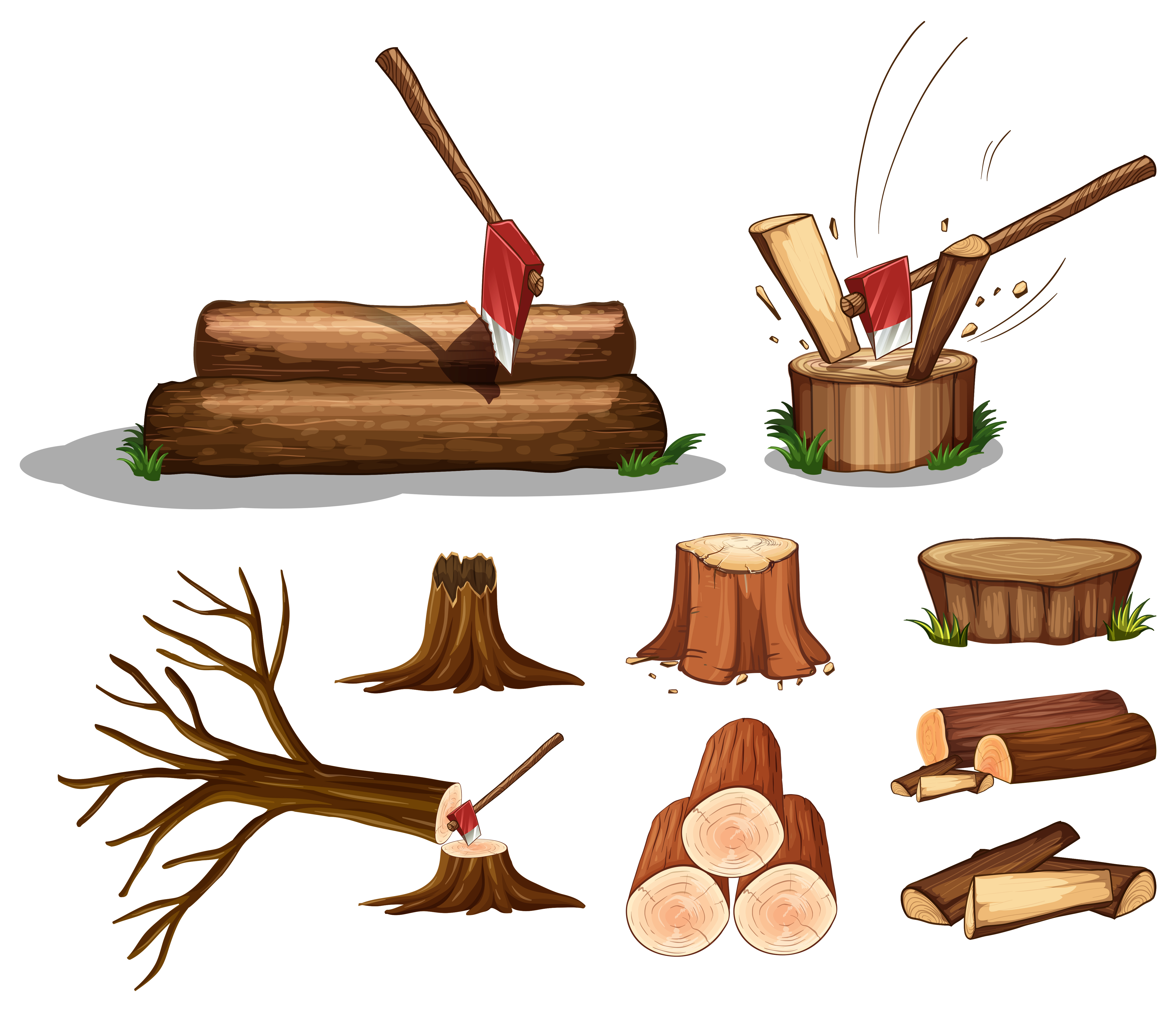 A Set of Tree and Wood - Download Free Vectors, Clipart ...