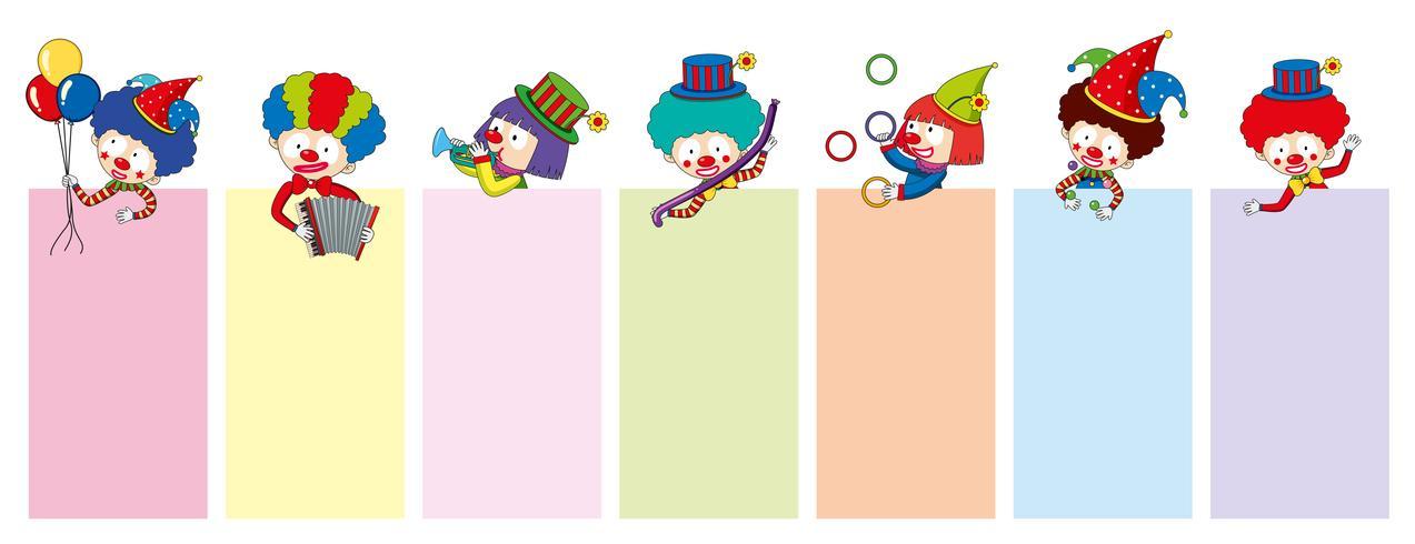 Banner-Vorlagen mit fröhlichen Clowns und Tools