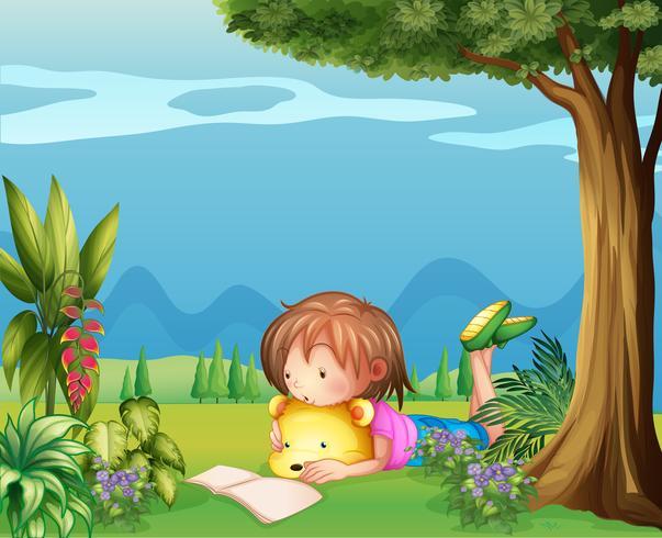 Una ragazza con un orso che legge un libro