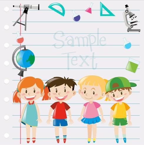 Disegno di carta con bambini e attrezzature scientifiche