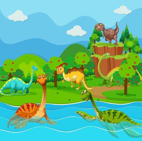 Muchos dinosaurios en el lago vector