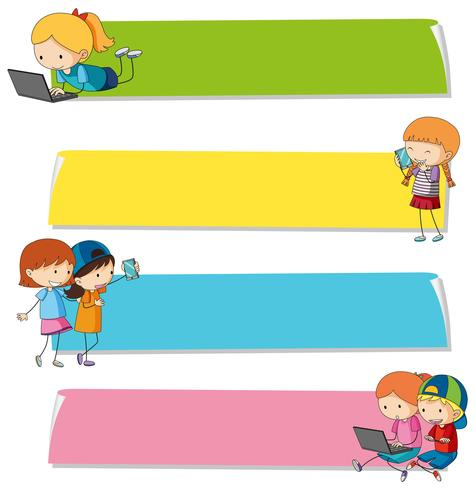 Modelli di banner con bambini su diversi dispositivi