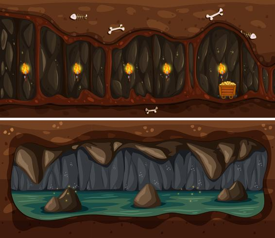 Underground Cave and Mine Template vector