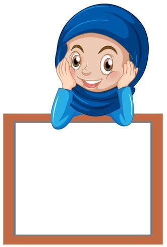 Um, muçulmano, menina, com, em branco, bandeira