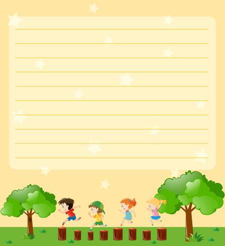 Plantilla de papel de línea con niños jugando en el parque vector