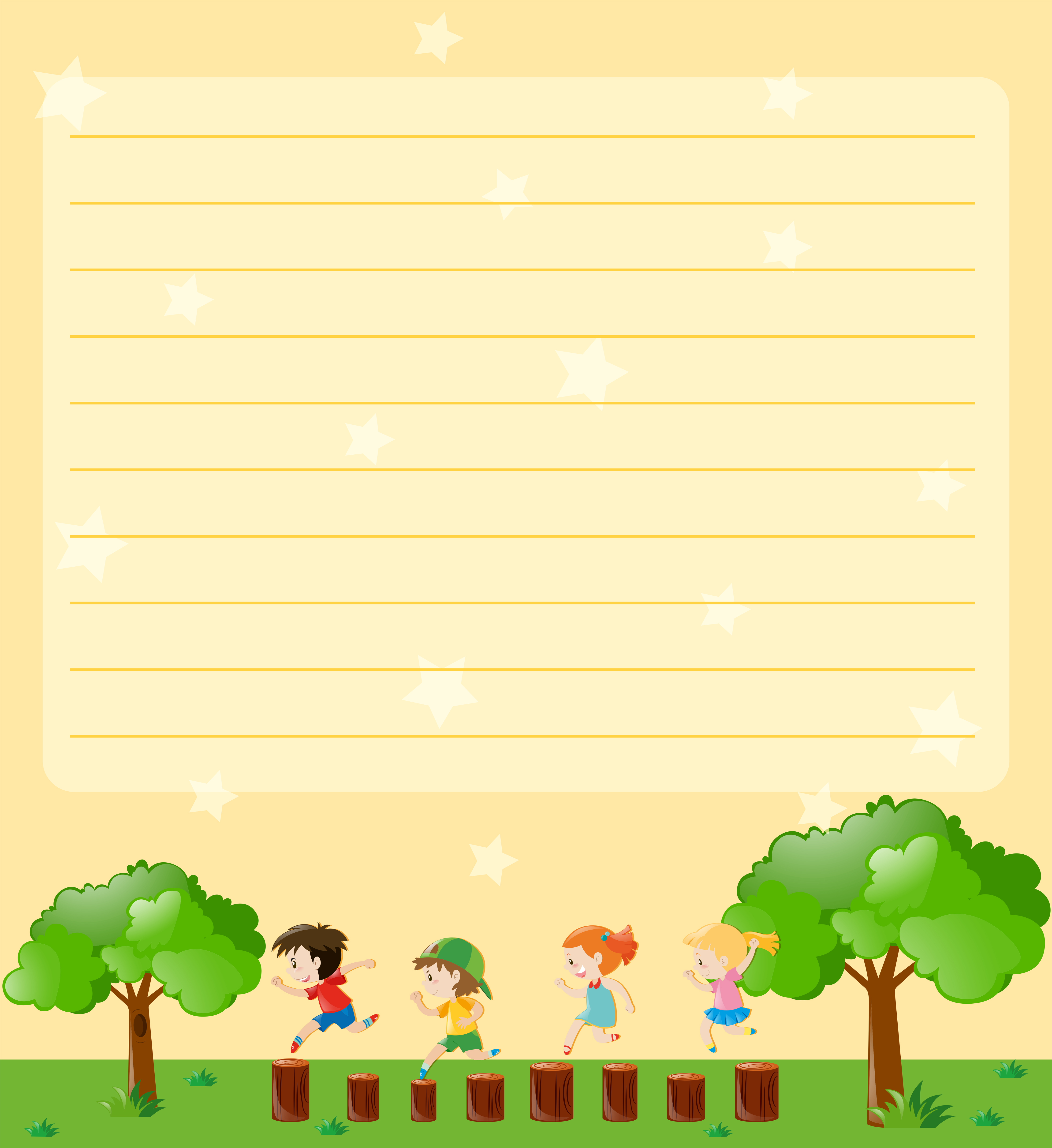 Line Paper Template With Kids Playing In Park