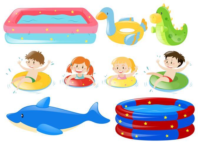Bambini che nuotano e altre attrezzature