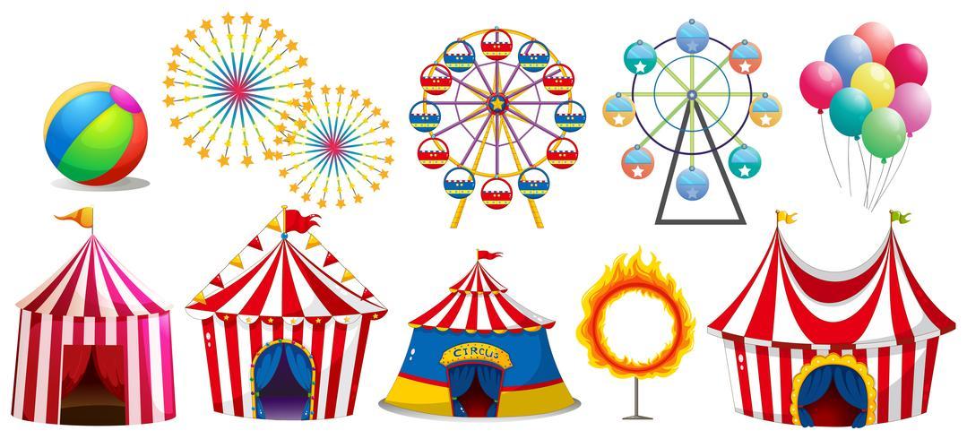Carpas de circo y ruedas de ferris.