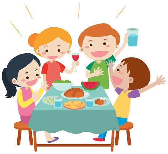 Persone che hanno un pasto al tavolo da pranzo vettore