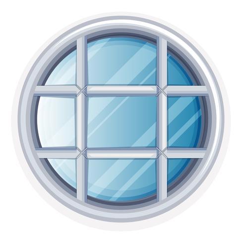 Rundes Fenster mit weißem Rahmen