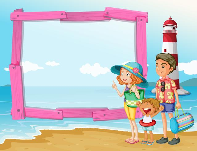 Frame design with family trip on the beach