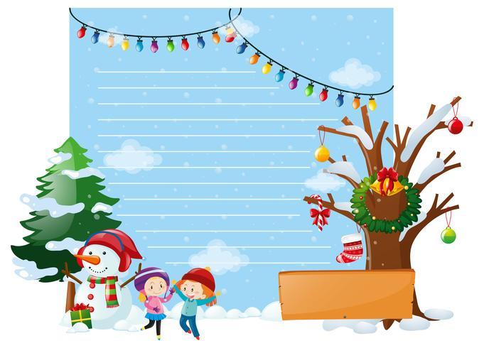 Linea de papel con niños y muñeco de nieve. vector