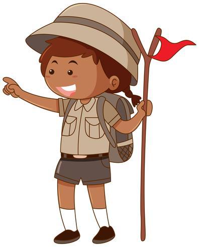 Menina, safari, equipamento, segurando, bandeira
