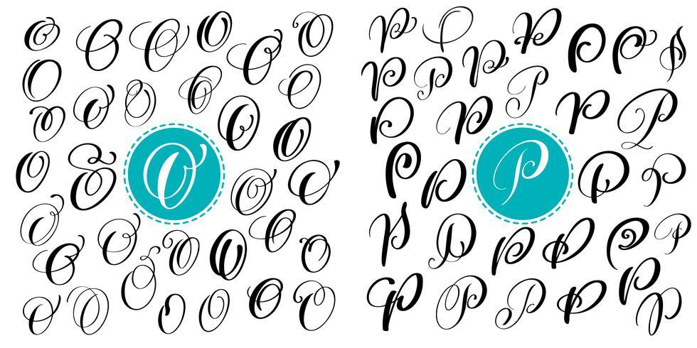 Ange bokstav O, P. Handdragen vektor blomstra kalligrafi. Skript typsnitt. Isolerade bokstäver skrivna med bläck. Handskriven penselstil. Handbokstäver för logotypemballage