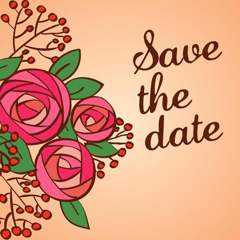 Invitación de boda guardar las tarjetas de fecha vector
