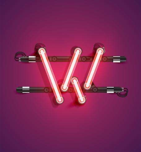 Carattere al neon alto dettagliato da un insieme, illustrazione di vettore
