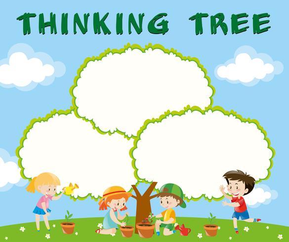 Modello di confine con i bambini che piantano alberi