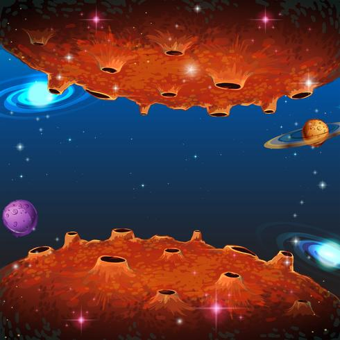 Escena con planetas en galaxia. vector
