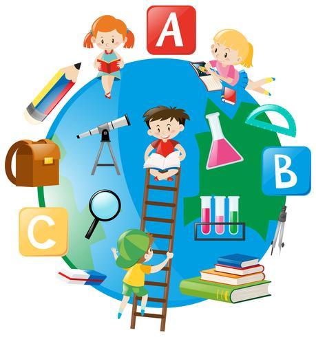 Vier studenten die de ladder op aarde beklimmen