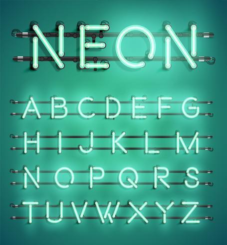 Jeu de caractères néon détaillée haute, illustration vectorielle