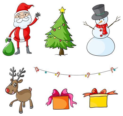 Diferentes simbolos de navidad
