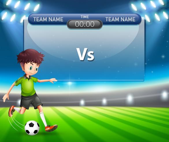 Tabla de puntuación con el juego de fútbol