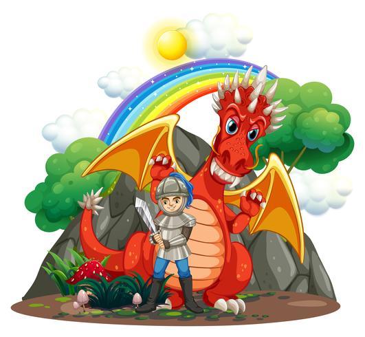 Dragón rojo y caballero con espada.