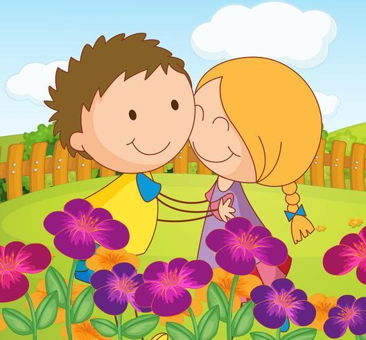 Ein paar Dating in einem Garten auf dem Hügel