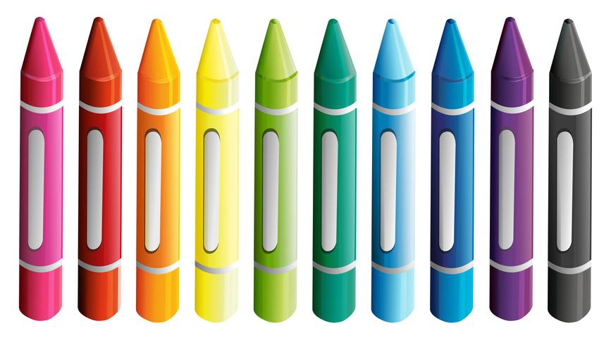 Un conjunto de coloridos crayones. vector