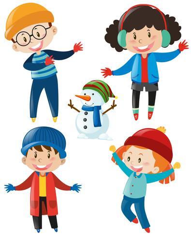 Niños y niñas en ropa de invierno. vector