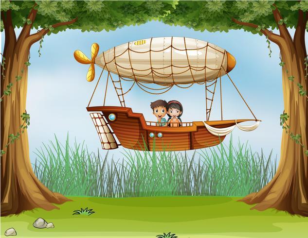 Kids riding in an airship