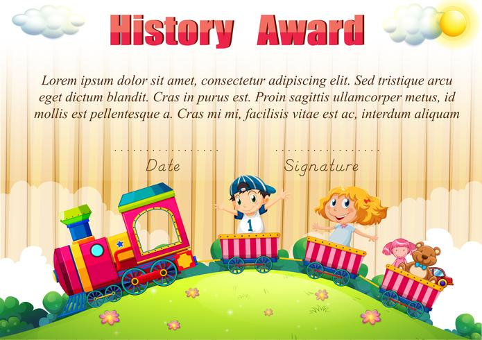 Certificate template with children on the train
