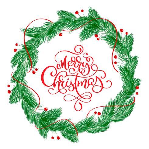 Texto de las letras de la caligrafía de la Feliz Navidad y una guirnalda con las ramas de árbol de abeto. Ilustración vectorial