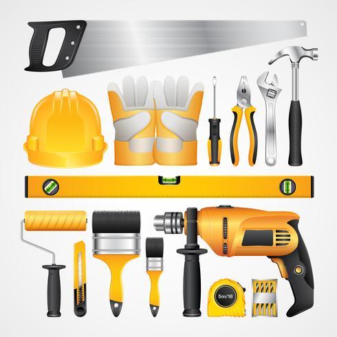 Stellen Sie Bauwerkzeugvorräte für Hausbaumeister zusammen vektor