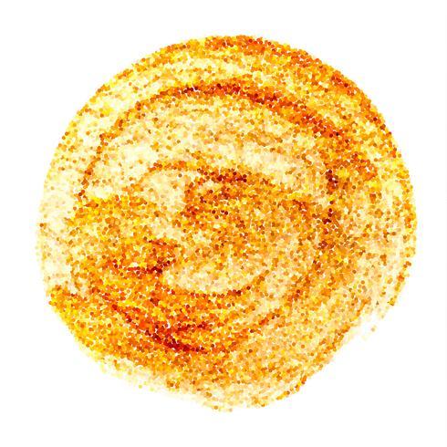 Cerchio d'oro. Illustrazione di arte scintillante di vettore astratto. Macchia d'oro a macchia d'impronta dipinta a mano