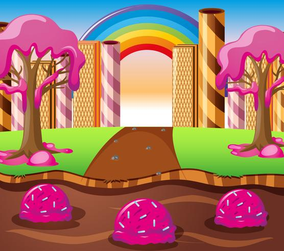 Scen med chokladflod och jordgubbskrämträd