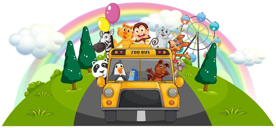 Un bus de zoo jaune sur la route